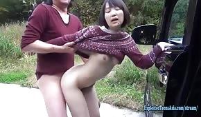 Sexo publico con asiática