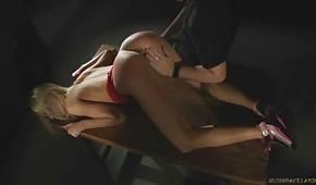 Un número en el sótano con una rubia ardiente