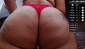 Culo gordo en bragas rojas